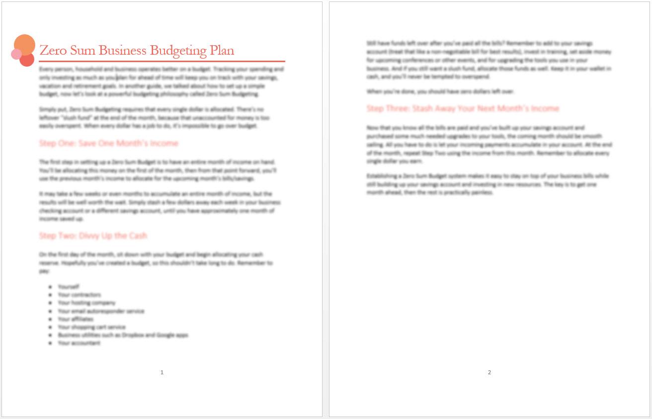 zero sum business budgeting plan
