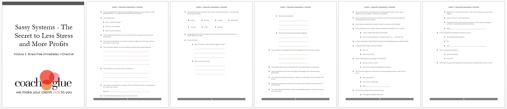 Module 1 Stress Free Immediately Checklist Screenshot