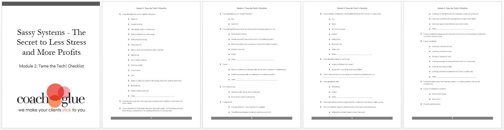 Module 2 Tame the Tech Checklist Screenshot