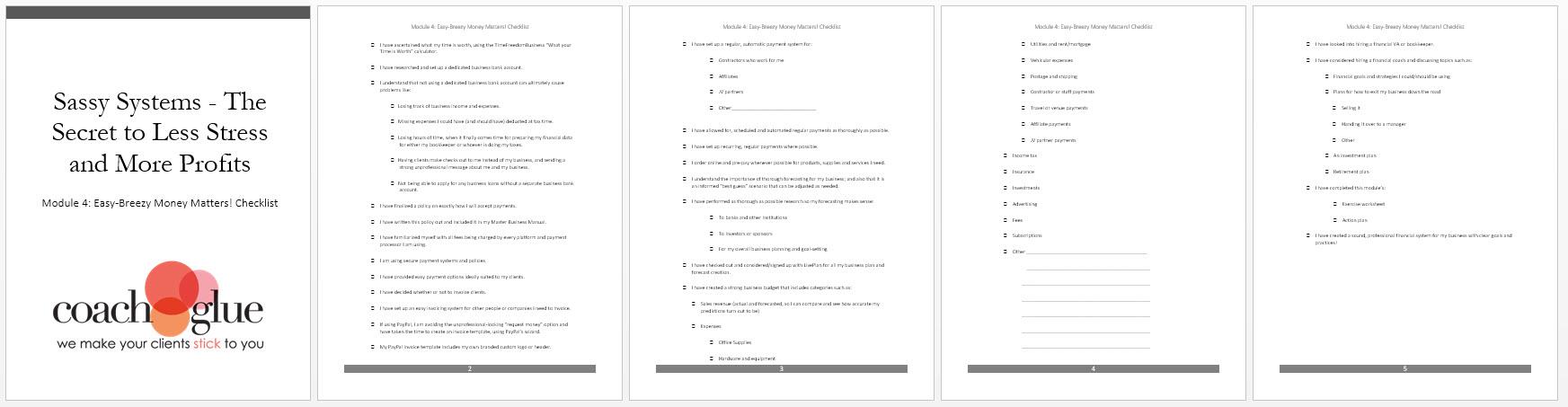 Module 4 Easy Breezy Money Matters Checklist Screenshot