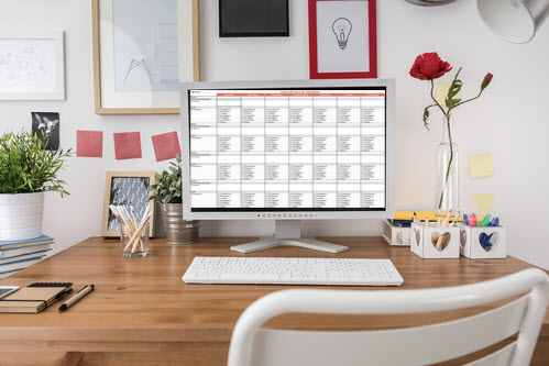 office computer with planning calendar