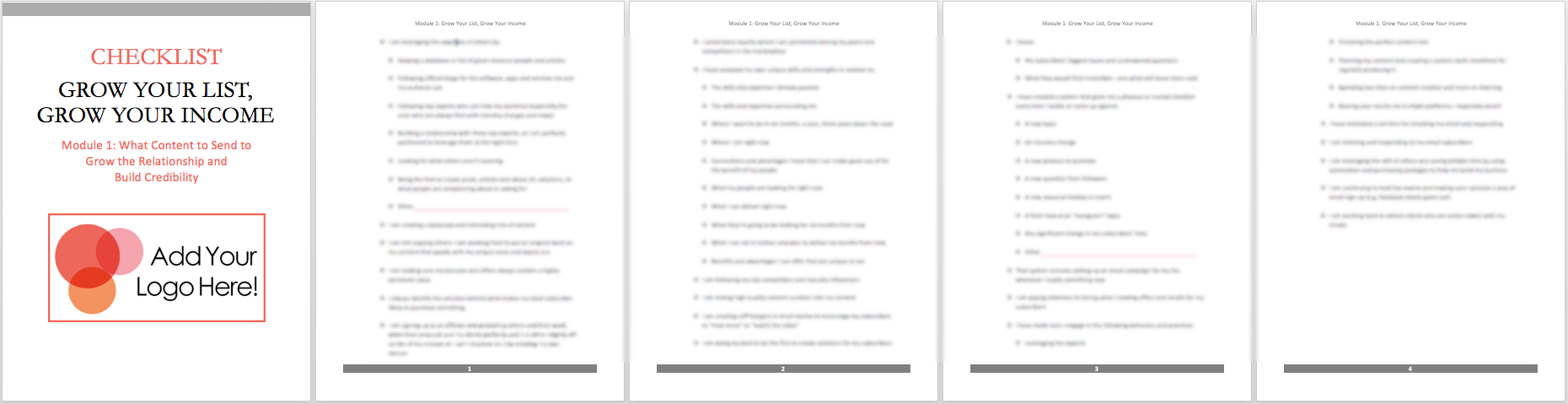 mod 1 checklist