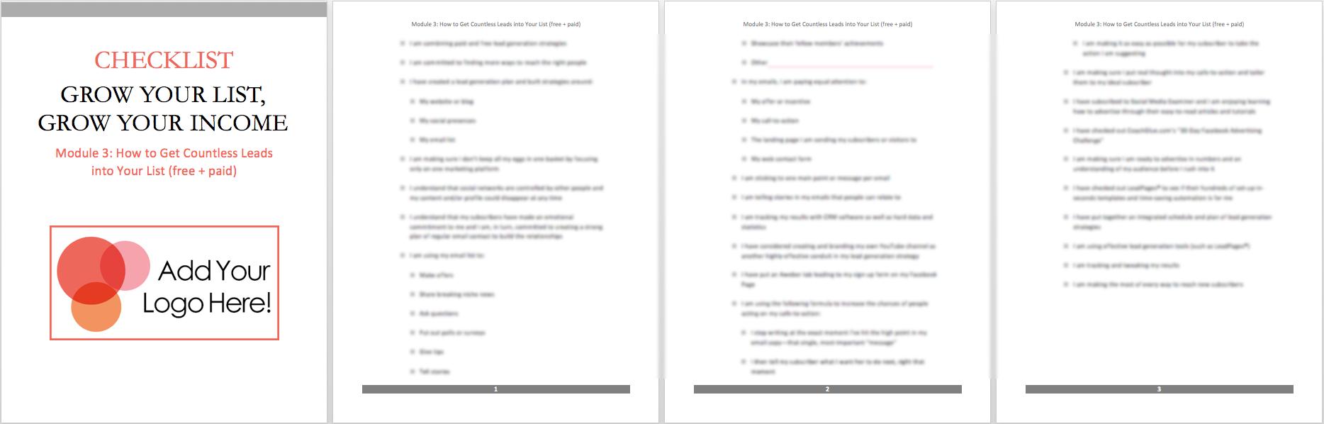 mod 3 checklist