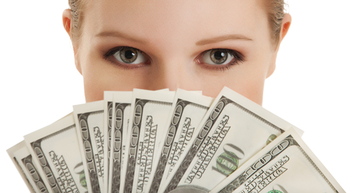face of beautiful young woman and the money- dollars