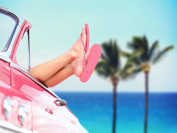 woman-in-car-with-pink-sandals