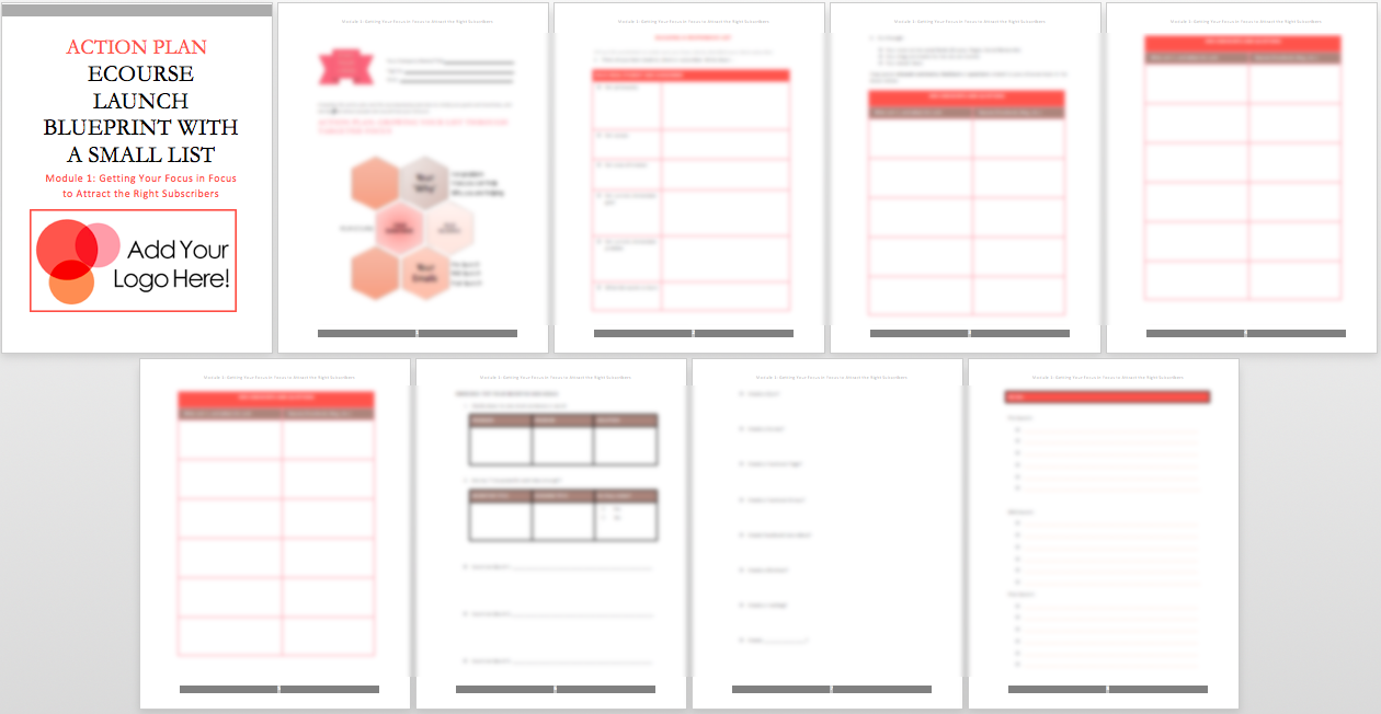 eCourse Launch Blueprint with a Small List – Action Plan Worksheet